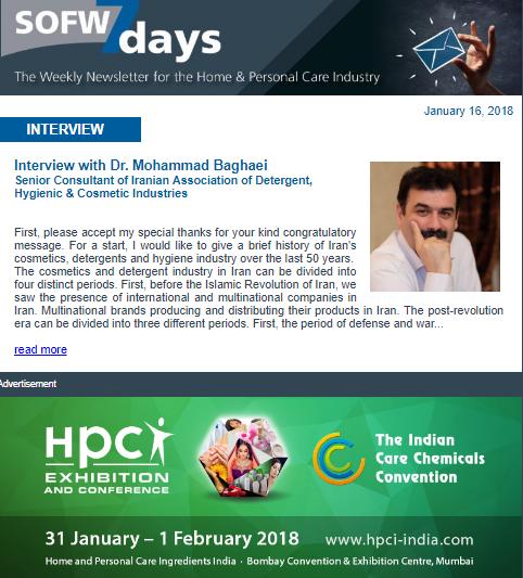 Photo of مصاحبه مجله بین المللی SOFW با دکتر محمد بقایی در رابطه با صنعت کازمتیک در ایران + ترجمه فارسی